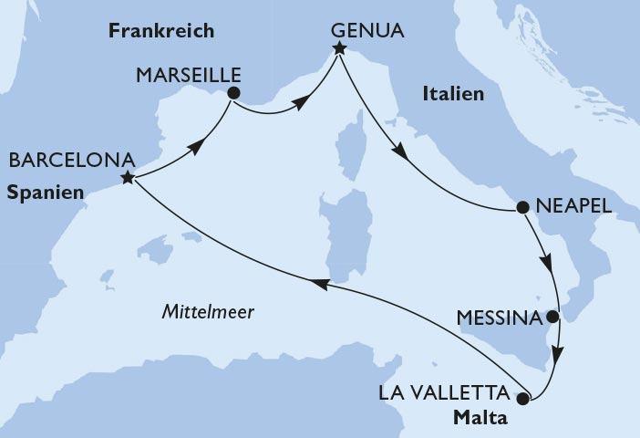 Route Westliches Mittelmeer
