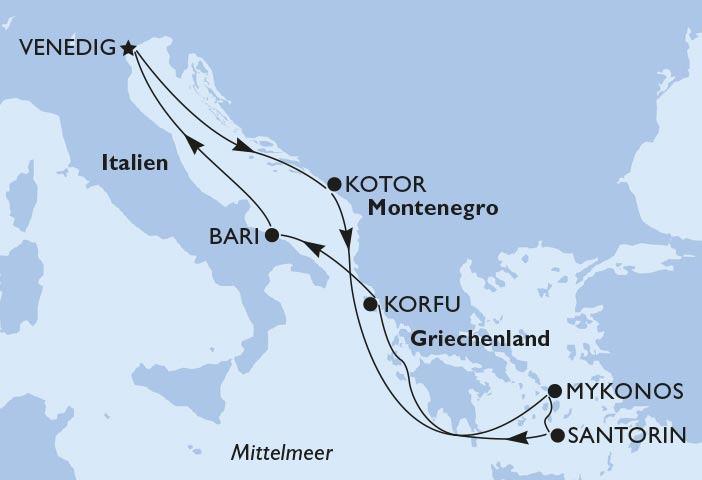 Route oestliches Mittelmeer